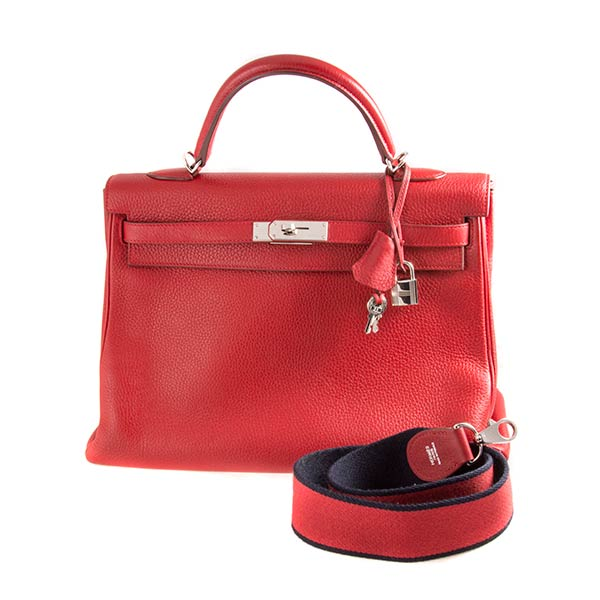 Аксессуары Hermes Kelly 32 Rouge Casaque Togo Amazon Strap фото