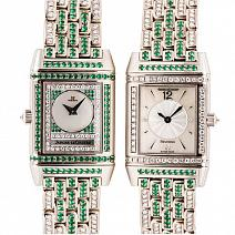 Швейцарские часы Jaeger-LeCoultre Reverso Duetto Diamond and Emeralds фото