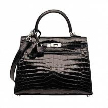 Аксессуары Hermes Kelly 25 Noir Crocodile  фото