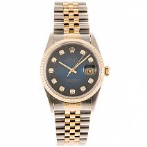 Швейцарские часы Rolex Datejust Gold/Steel Blue Dial Diamond фото