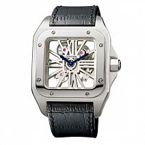 Швейцарские часы Cartier Santos 100 Skeleton Watch XL Palladium фото
